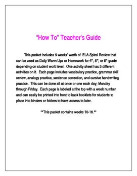 ELA Daily Warm Up or Homework Packet (Weeks 10-18)