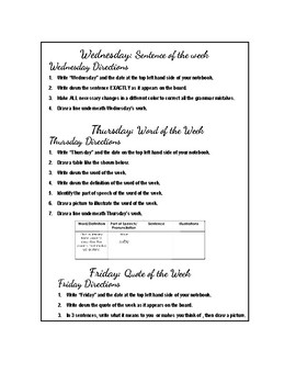 ELA 'Do Now' Notebook Reference Pages
