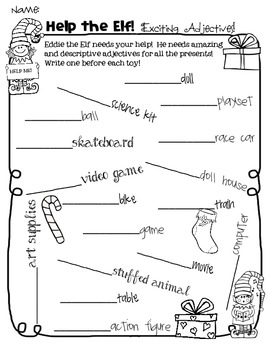 ELA ELF Holiday Grammar: Adverbs & Adjectives! Task Cards, Games, & More