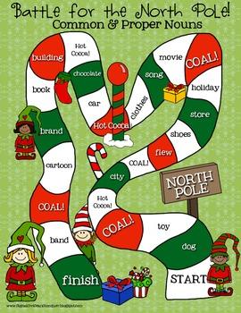 ELA ELF Holiday Grammar: Common & Proper Nouns! Task Cards, Games, & More