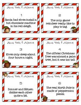 ELA ELF Holiday Grammar: Nouns, Verbs, and Adjectives! Task Cards, Games, & More