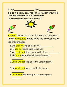 ELA: END OF THE YEAR CONTRACTIONS QUIZ