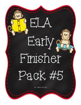 ELA Early Finisher Pack 5 - No Prep - Practice Skills