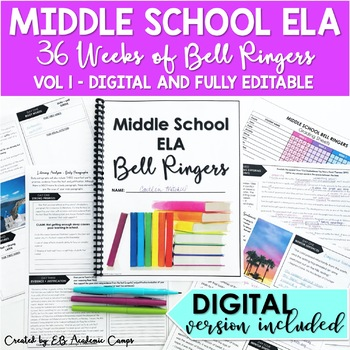 ELA Bell Ringers for Middle School 8th Grade Full Year DIGITAL PRINT EDITABLE
