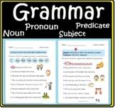 ELA English Grammar Worksheet Noun Pronoun  Subject Predicate Handout Printable