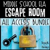 ELA Escape Room ALL ACCESS BUNDLE . Middle School Reading