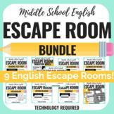 ELA Escape Room Bundle - Middle School - Reading & Writing