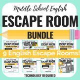 ELA Escape Room Bundle - Middle School - Reading & Writing