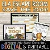 ELA Escape Room Save the Zoo | Fun ELA Test Prep Review |
