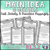 Main Idea and Details Exit Tickets
