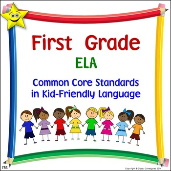 ELA First Grade Common Core Standards Posters in Kid-Frien