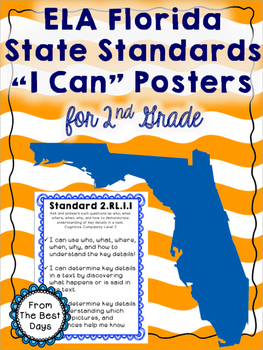 "ELA Florida State Standards ""I Can"" Posters for 2nd Grade"