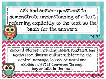 ELA Focus Wall Common Core Standards and Essential Questions for 3rd Grade