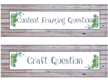 ELA Focus Wall Headers - Rustic Chic, Farmhouse, Succulents