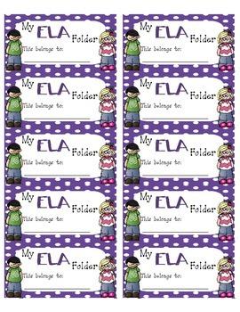 ELA Folder Labels