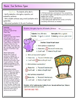Four Sentence Types Activity, Lesson Plans, and Center
