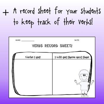 ELA Fun Center Activity to Practice Verbs - Grammar Self-Correcting Task Cards!