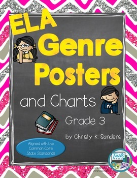 ELA Genre Posters and Charts for Grade 3: Chevron Edition