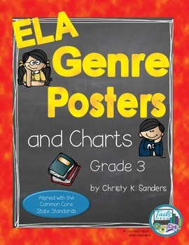 ELA Genre Posters and Charts for Grade 3: Rainbow Edition