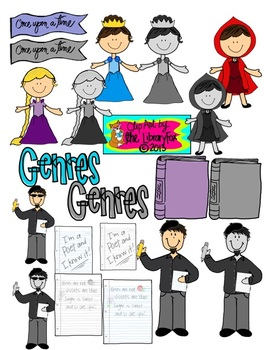 ELA Genres Clip Art Set with Blacklines for Personal or Commercial Use