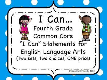 """ELA Grade 4: CCSS """"I Can"""" posters"""