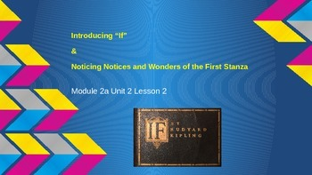 "ELA Grade 6 Module 2a Unit 2 Lesson 2 Intro to ""If"" by Rud"