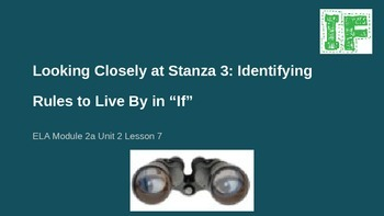 ELA Grade 6 Module 2a Unit 2 Lesson 7 Looking Closely Stanza 3 Rules to Live By