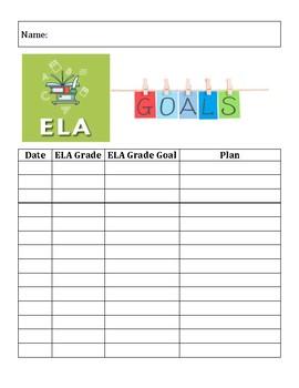 ELA Grade Goal Setting Chart for Students