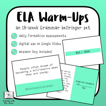 ELA Grammar Daily Warm Ups Bell Ringers Activators Full Semester 90 Days
