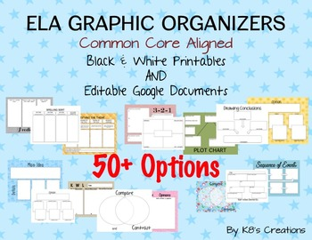 ELA Graphic Organizers: Printables and Assignable Google Docs
