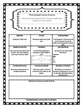 ELA Grid Homework Choice Pack