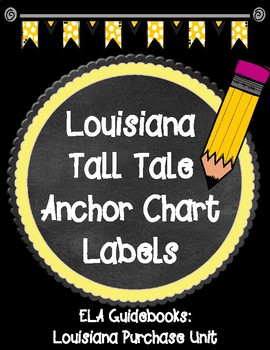 ELA Guidebooks Tall Tales Anchor Chart Labels for Louisiana Purchase Unit