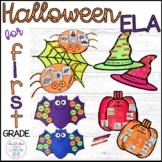 ELA Halloween Crafts for 1st Grade {ABC order, nouns, verbs, syllables & blends}