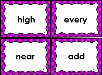 High Frequency Word Cards, Set 3