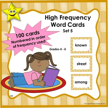 High Frequency Word Cards, Set 5