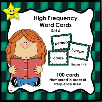 High Frequency Word Cards, Set 6