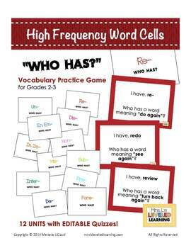 "ELA High Frequency Word Cells ""Who Has"" Game Sets for Grades 2-3"