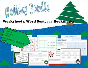 ELA Holiday Bundle: Worksheets, Word Sort, & Bookmarks