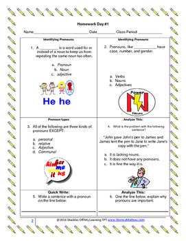 ELA Homework Activities Pack 1.4 (Common Core Aligned)