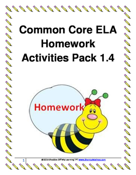 ELA Homework Activities Pack 1.4 (Common Core Aligned)