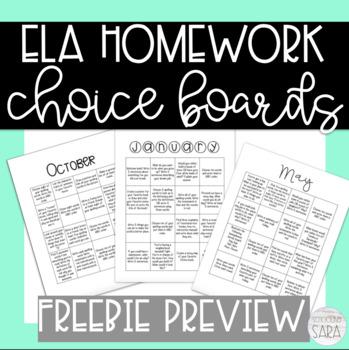 ELA Homework Calendar Freebie