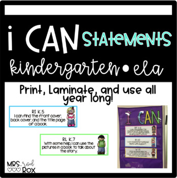 ELA I CAN STATEMENTS Kindergarten