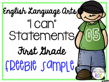 ELA I CAN statements COMMON CORE First Grade FREEBIE SAMPLE