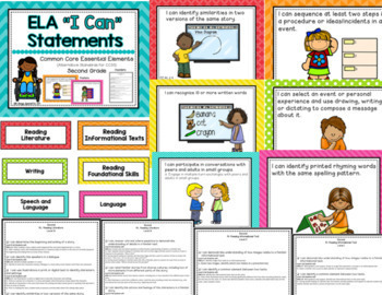 """ELA """"I Can"""" Bundle  K-3rd for Common Core Essential Elements"""