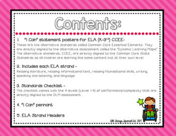 "ELA ""I Can"" Bundle  K-3rd for Common Core Essential Elements"