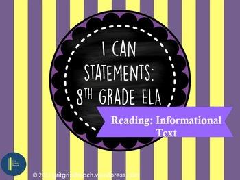 """ELA """"I Can"""" Statements (8th Grade RI)"""