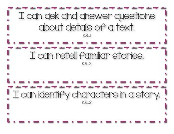 ELA I Can Statements: Kindergarten