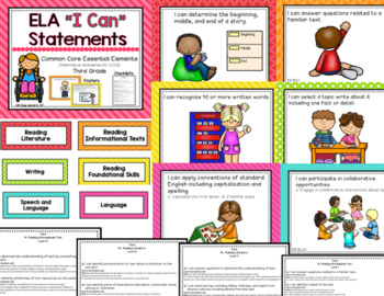 """ELA """"I Can"""" Statements for Common Core Essential Elements (Third)"""