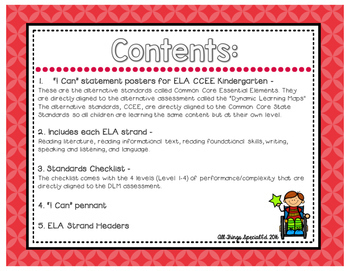 """ELA """"I Can"""" Statements for Common Core Essential Elements (kindergarten)"""
