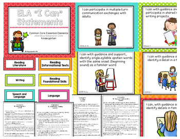 "ELA ""I Can"" Statements for Common Core Essential Elements (kindergarten)"